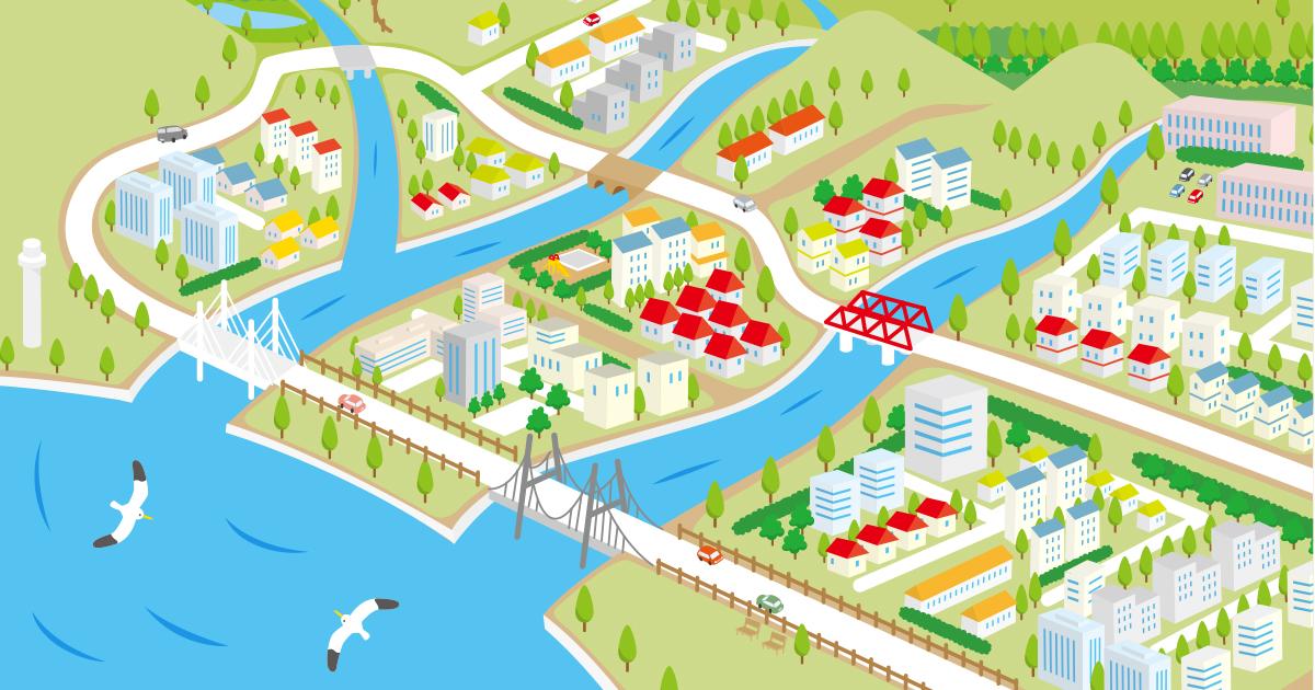 建設会社子ども向けコンテンツ かわいい風景イラスト制作例
